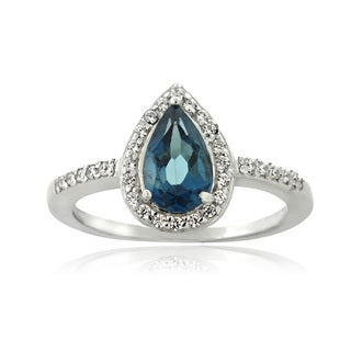 Glitzy Rocks Sterling Silver London Blue Topaz and Cubic Zirconia Teardrop Ring