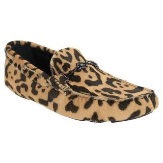 Robert Cavalli Men's Leopard Print Leather Slip-on Moccasin Loafers