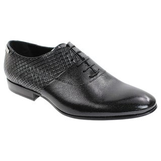 Alessandro Dell'acqua Men's Black Leather Tuxedo-style Oxford Shoes
