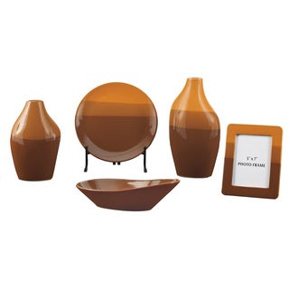 Signature Designs by Ashley Shila Brown Reactive Glaze 5-piece Table Top Set