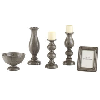 Signature Designs by Ashley Silvine Distressed Gray 5-piece Table Top Set