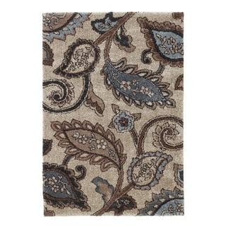 Signature Designs by Ashley 'Yvette' Blue/ Beige Shag Rug (5'3x7'6)