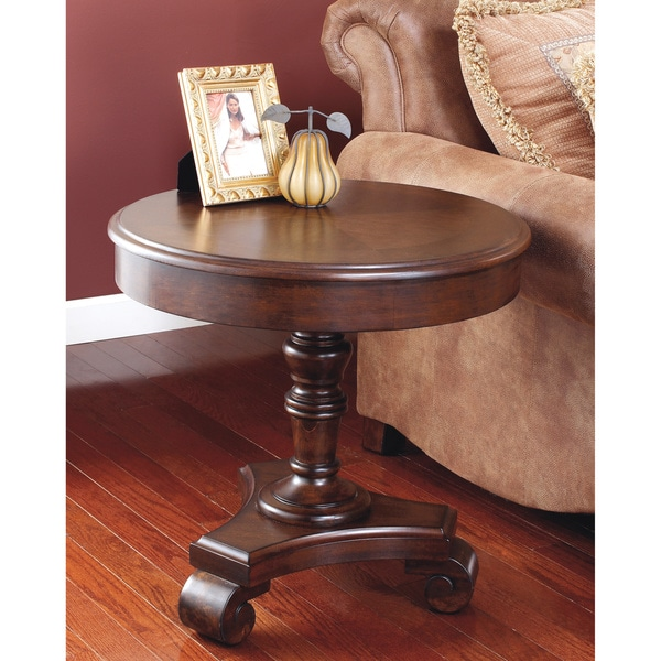 Ashley Coffee End Tables: Signature Designs By Ashley 'Brookfield' Dark Rustic Round