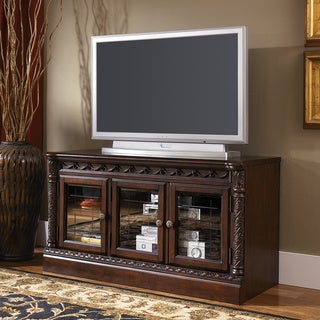 Signature Designs by Ashley North Shore Medium Dark Brown Finish TV Stand