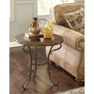 Signature Designs by Ashley 'Everleaux' Rustic Brown Round End Table