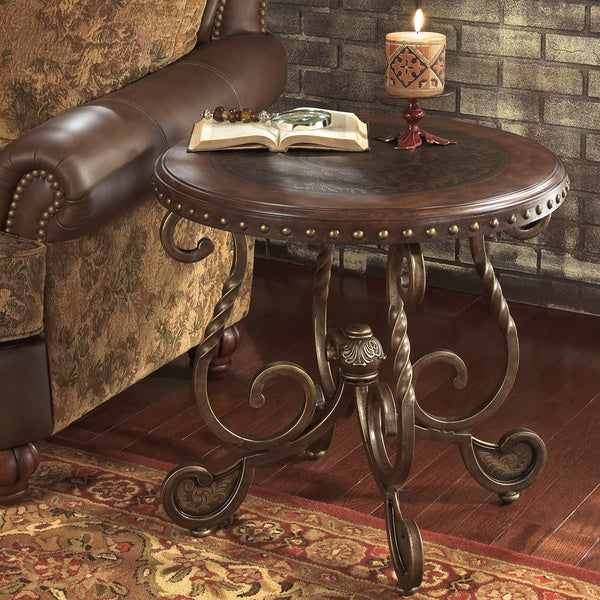 Signature Designs By Ashley 39 Rafferty 39 Round Dark Brown End Table 16337340
