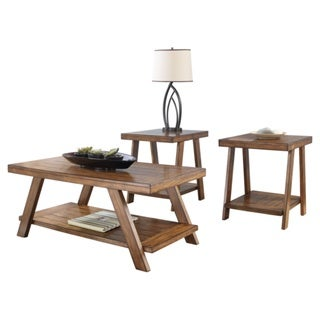 Signature Designs by Ashley 'Bradley' Burnished Brown 3-piece Occasional Table Set
