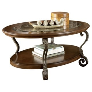 Signature Designs by Ashley 'Nestor' Oval Medium Brown Cocktail Table