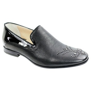 Alessandro Dell'acqua Mens Black Studded Leather Dress Shoes