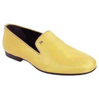 John Galliano Men's Yellow/ Gold Leather Slip-on Loafers
