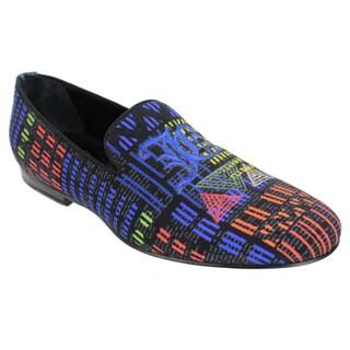 John Galliano Men's Multicolored Canvas Slip-on Loafers