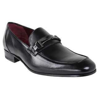 Mezlan Men's '5439-1' Black Burnished Calfskin Leather Loafers