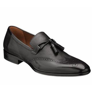 Melzan Men's '5444' Black Calfskin Leather Loafers