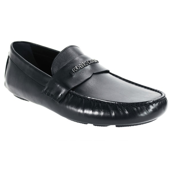 Robert Cavalli Men's Vitellino Black Leather Slip-on Dress Shoes
