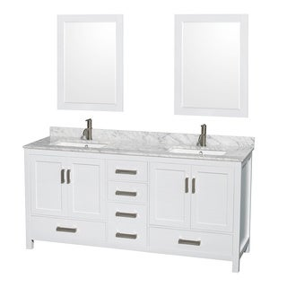 Wyndham Collection Sheffield White 72-inch Double Vanity