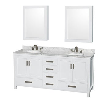 Wyndham Collection Sheffield 72-inch Double White Vanity