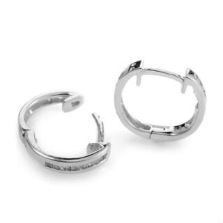 14k White Gold Small Diamond Hoop Earrings