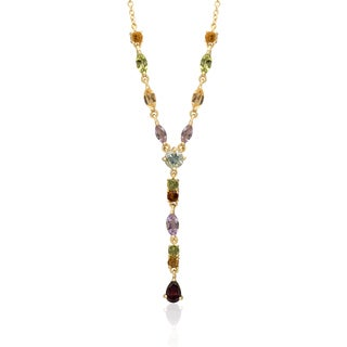 Dolce Giavonna Gold Over Sterling Silver Multi Gemstone Frontal Necklace