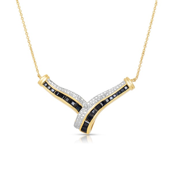 Dolce Giavonna Gold Over Sterling Silver Diamond Accent Sapphire Necklace with Red Bow Gift Box