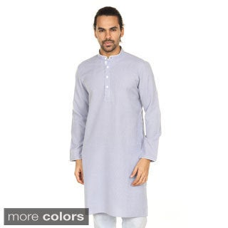 In-Sattva Anita Dongre Men's Printed Long Mandarin Collar Pullover Kurta Tunic (India)