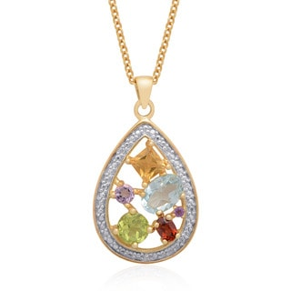 Dolce Giavonna Gold Over Sterling Silver Diamond Accent Multi Gemstone Teardrop Necklace