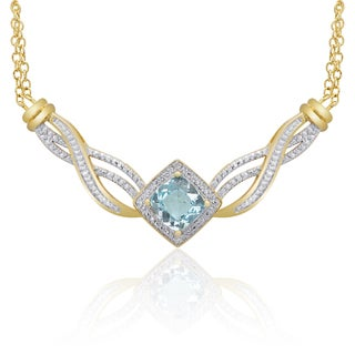 Dolce Giavonna Gold-over-Sterling Silver Diamond Accent London Blue Topaz Necklace in a Gift Box