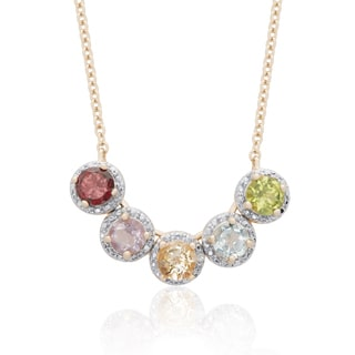 Dolce Giavonna Gold Over Sterling Silver Multi Gemstone Necklace