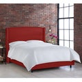 Made to Order Nail Button Wingback Bed in Linen Antique Red