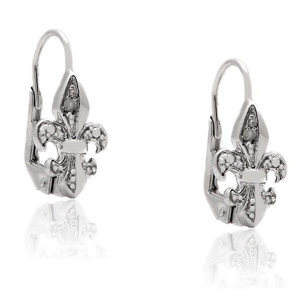 Finesque sterling silver diamond accent fleur de lis leverback earrings i j i2 i3 9ca1ffb4 0301 446f b6cb 464c64e3ac17 600