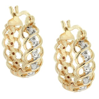 Finesque Gold Over Sterling Sivler Diamond Accent Hoop Earrings