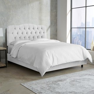 Skyline Furniture Tufted Bed in Velvet White