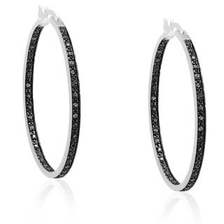 Finesque Silver Overlay Black Diamond Hoop Earrings