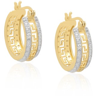 Finesque Two Tone Sterling Silver Diamond Accent Greek Key Design Hoop Earrings