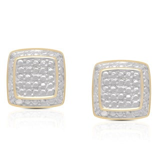 Finesque Two Tone Sterling Silver Diamond Accent Square Stud Earrings