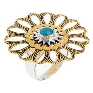 Zinnia Sterling Silver Turquoise-blue Agate Fashion Ring