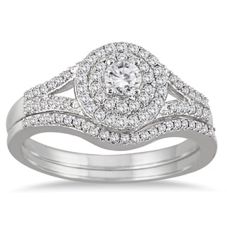 10k White Gold 1/2ct TDW Diamond Double Halo Split Shank Bridal Ring Set (I-J, I1-I2)