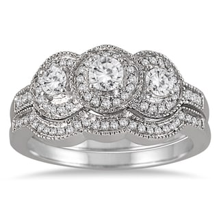 10k White Gold 3/4ct TDW Three-stone Antique Diamond Bridal Ring Set (I-J,I1-I2)
