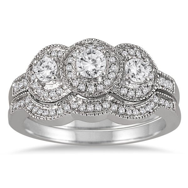 Marquee Jewels 10k White Gold 3/4ct TDW Three-stone Antique Diamond Bridal Ring Set (I-J,I1-I2)