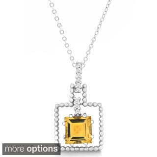 La Preciosa Sterling Silver Gemstone Square and Cubic Zirconia Pendant Necklace