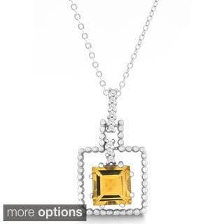 La Preciosa Sterling Silver Gemstone Square and Cubic Zirconia Pendant Necklace