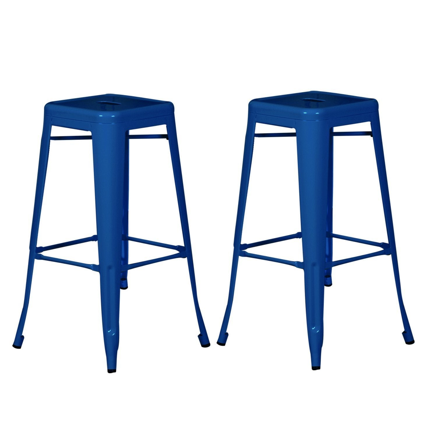 Adeco Sheet Iron Deep Blue Bar Stools (Set of 2)