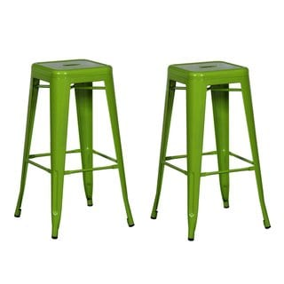 Adeco Sheet Iron Green Bar Stools (Set of 2)
