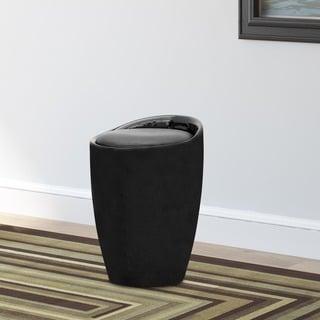 CorLiving Black Leatherette Storage Stool