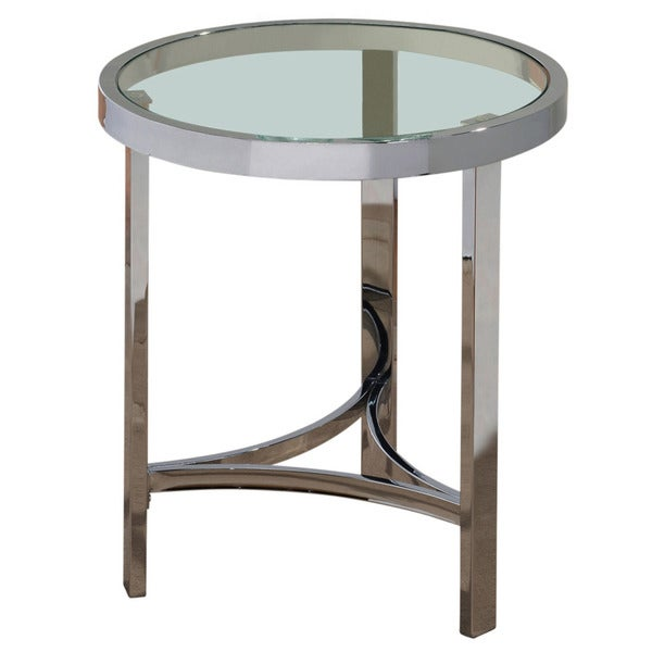 Worldwide Homefurnishings Living Room Tables Chrome and Clear Glass Accent Table grey 501-746