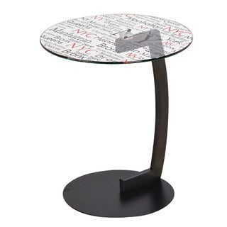 Soho-round Printed Glass Accent Table
