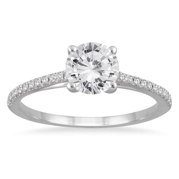 14k White Gold 1 1/6ct TDW White Diamond Cathedral Engagement Ring (I-J, I2-I3)
