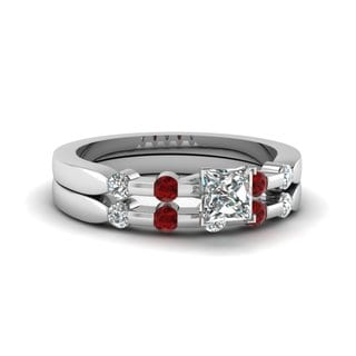 14k White Gold 5/8ct TDW Princess-cut Certified Diamond and Ruby Bridal Set