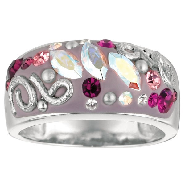 Rhodium-plated Brass Pink Crystal Ring