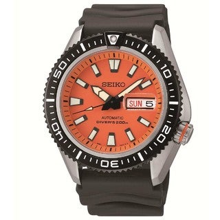 Seiko Men's Diver SRP497K Black Rubber Automatic Watch with Orange Dial