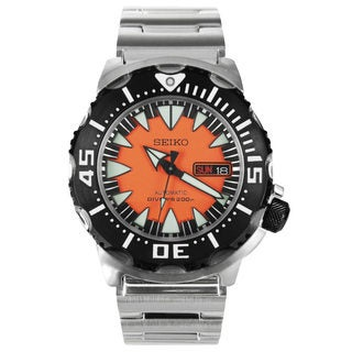 Seiko Men's SRP315K2 Divers Black and Orange Dial Stainless Steel Watch